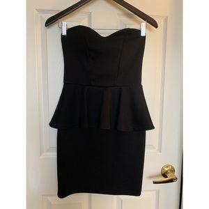 BOOHOO Black Strapless Peplum Dress